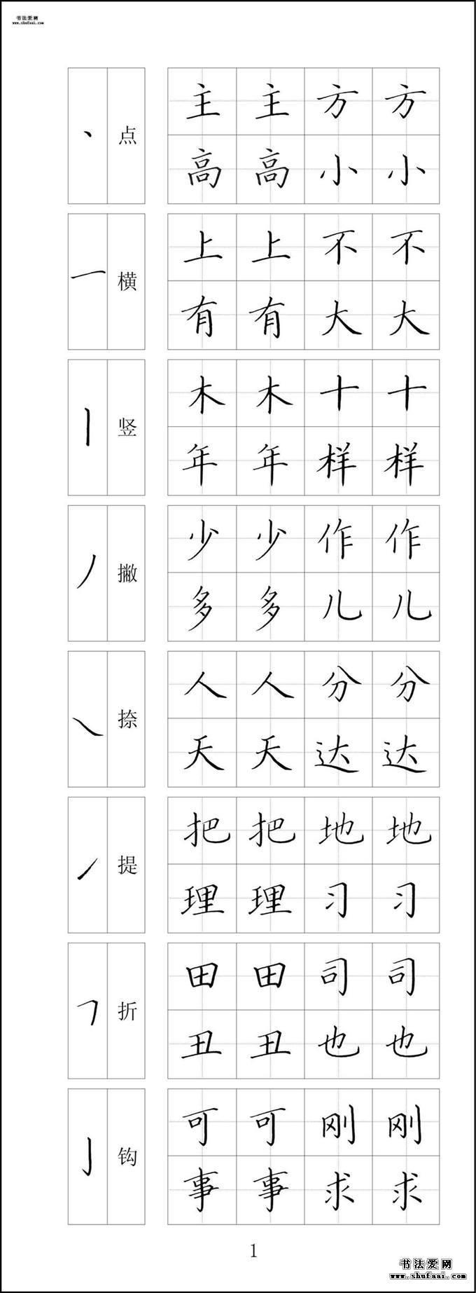 钢笔字帖全套下载  第一套:1-10张 第【1】张