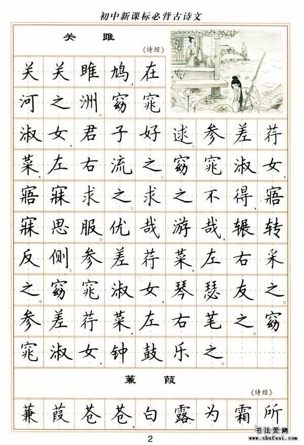 初中新课标必背古诗文 卢中南 钢笔楷书字帖