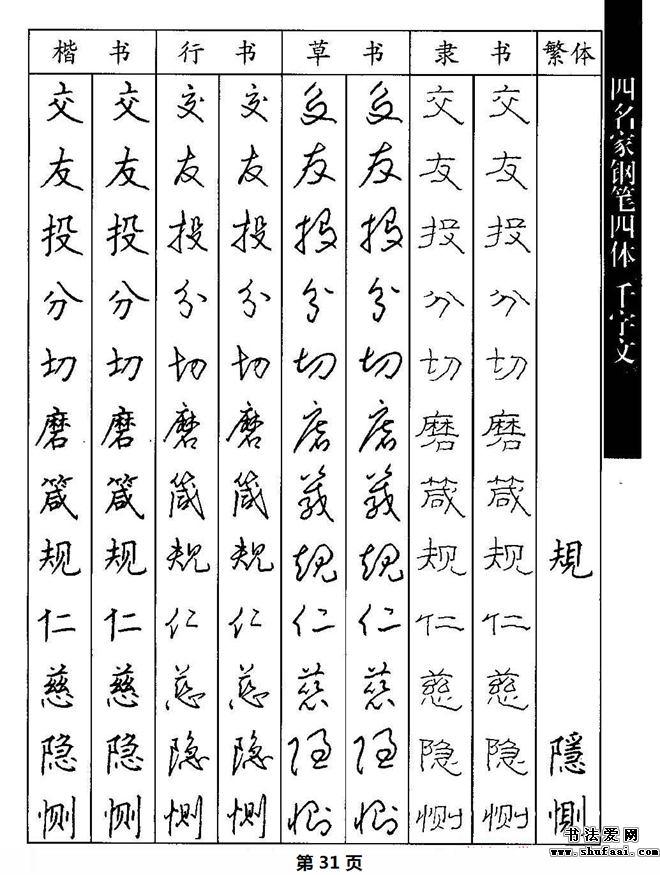 名家钢笔楷行草隶四体千字文字帖欣赏,高清晰硬笔书法字帖图片80张.图片