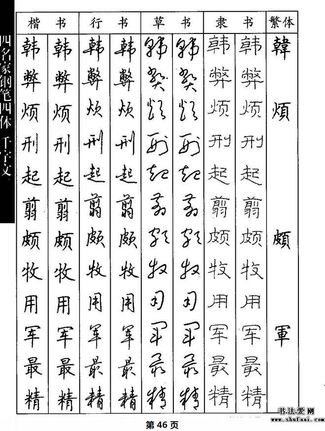 名家钢笔楷行草隶四体千字文字帖图片