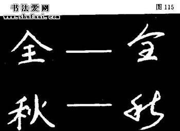 粉笔字教程 第四章 粉笔草书临习 第一节 草书的结构特点