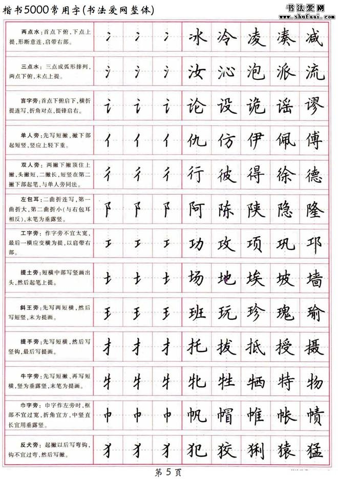 《楷书5000常用字》高清 硬笔楷书字帖下载 第【4】张