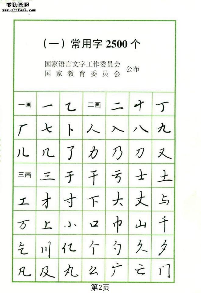 钢笔字帖 常用行书范字2500个_钢笔行书字帖下载_书法图片