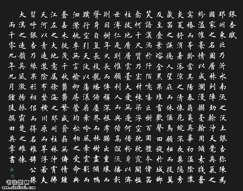 田英章楷书银杏赋7
