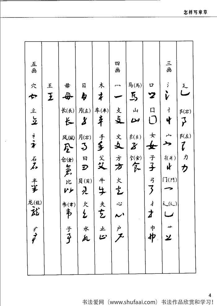 章草的偏旁部首和写法2
