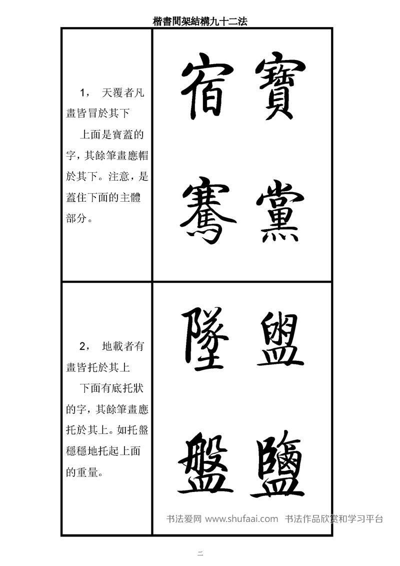 楷书间架结构九十二法-启功字帖 第【2】张