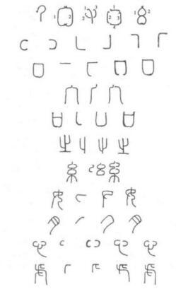 篆书的基本笔画,主要有下列几种: