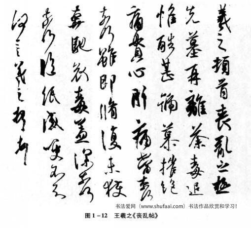 图1—12王羲之《丧乱帖》