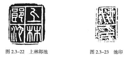 """上林郎池""""(图2.3-22)和""""池印""""(图2.3-23)"""
