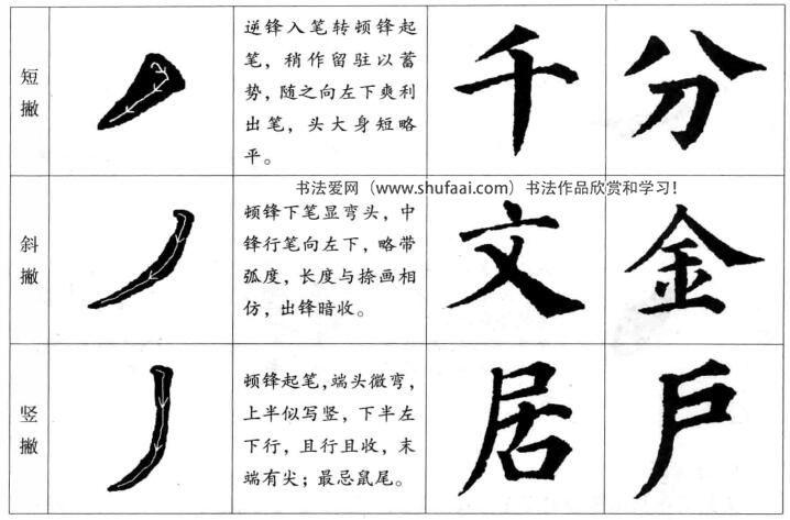 楷书的书写法则  (四)撇画