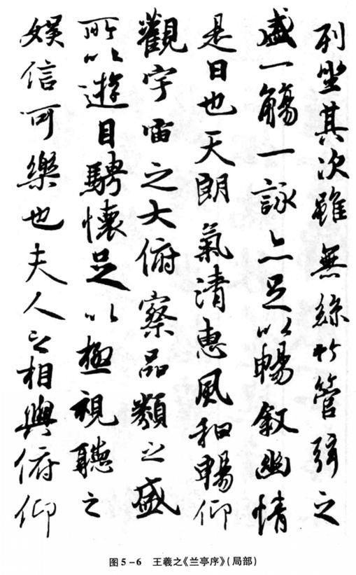 图5—6王羲之《兰亭序》(局部)