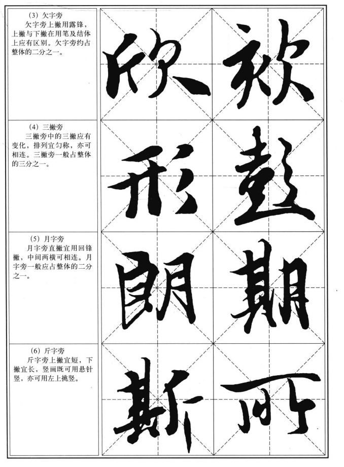 部首写法 左右偏旁的写法 王羲之兰亭序习字帖6
