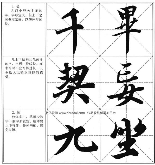 长、短、宽、窄字形的布势 王羲之兰亭序习字帖