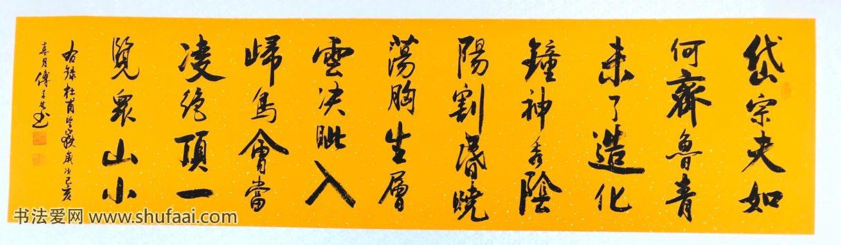 付春林书法 杜甫望岳180x48